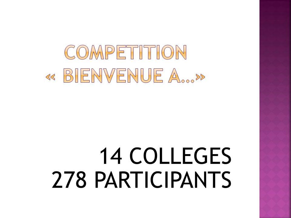 14 COLLEGES 278 PARTICIPANTS