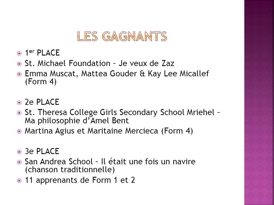 1 er PLACE St. Michael Foundation – Je veux de Zaz Emma Muscat, Mattea Gouder & Kay Lee Micallef (Form 4) 2e PLACE St. Theresa College Girls Secondary