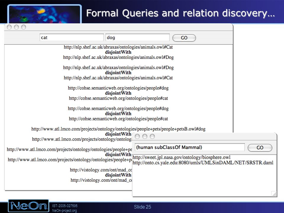 IST-2005-027595 NeOn-project.org Slide 25 Formal Queries and relation discovery…