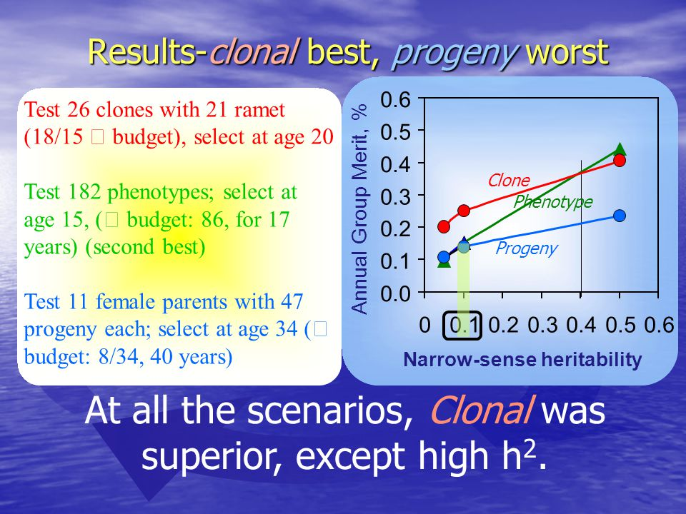 Results-clonal best, progeny worst At all the scenarios, Clonal was superior, except high h 2.