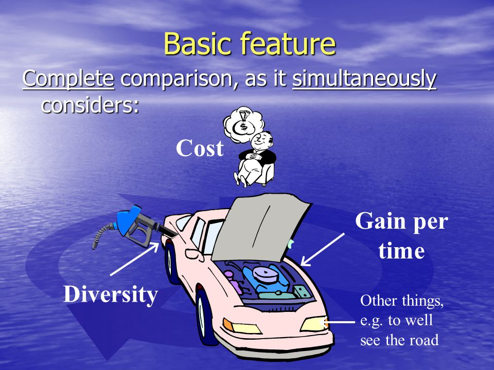Basic feature Gain per time Cost Diversity Complete comparison, as it simultaneously considers: Other things, e.g.