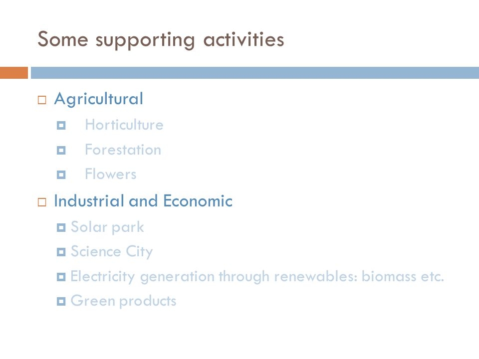 Some supporting activities Agricultural Horticulture Forestation Flowers Industrial and Economic Solar park Science City Electricity generation through renewables: biomass etc.