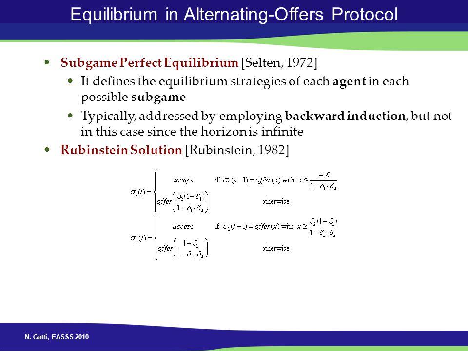 N. Gatti, EASSS 2010 Equilibrium in Alternating-Offers Protocol Subgame Perfect Equilibrium [Selten, 1972] It defines the equilibrium strategies of ea