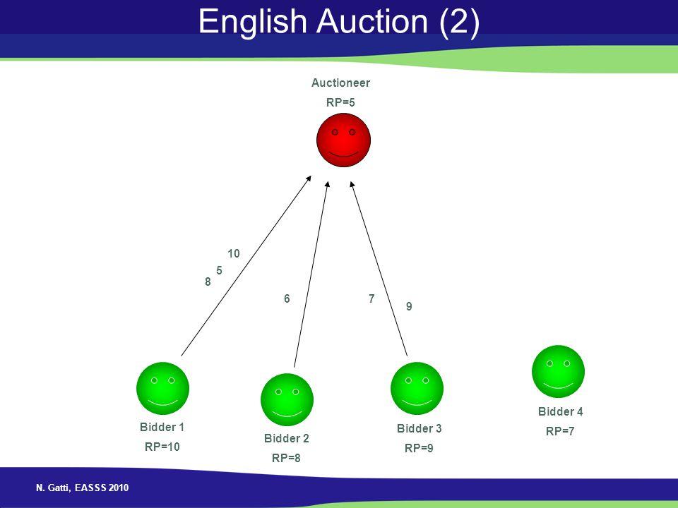 N. Gatti, EASSS 2010 English Auction (2) Auctioneer RP=5 Bidder 1 RP=10 Bidder 2 RP=8 Bidder 3 RP=9 Bidder 4 RP=7 5 67 8 9 10