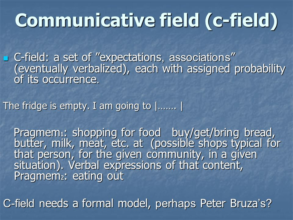 Communicative field (c-field) C-field: a set of expectations, associations (eventually verbalized), each with assigned probability of its occurrence.