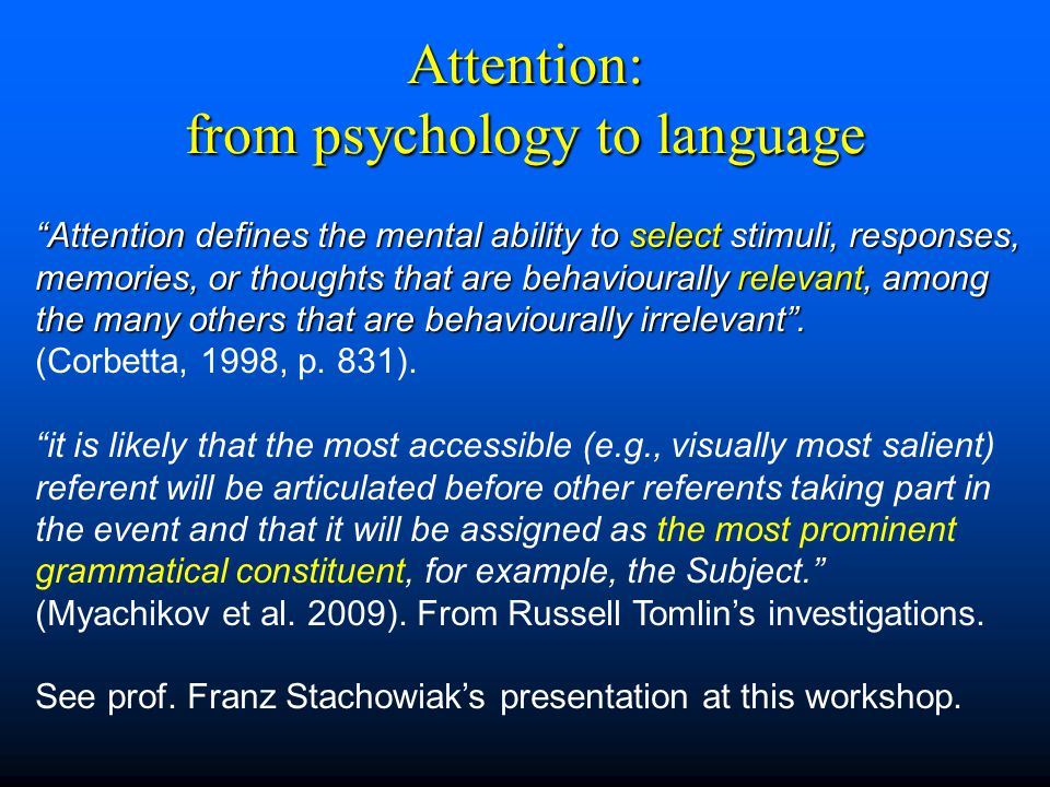 From Mental Representation to Linguistic Utterance Example of a mental representation (what a speaker means): Semantic Situation : a man, a dog Spatial Anchor: a park, Temporal Anchor: the time of the speech act (present) To build a linguistic utterance on the basis of a mental representation the speaker may choose in the limits of his/her own langage a point of view on the situation and propose or impose it on the hearer.