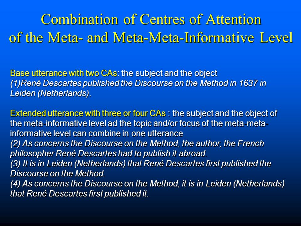 Combination of Centres of Attention of the Meta- and Meta-Meta-Informative Level Base utterance with two CAs: the subject and the object (1)René Desca