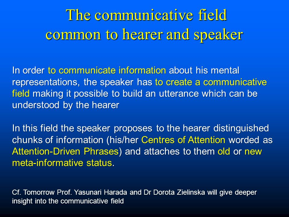 The communicative field common to hearer and speaker The communicative field common to hearer and speaker In order to communicate information about hi