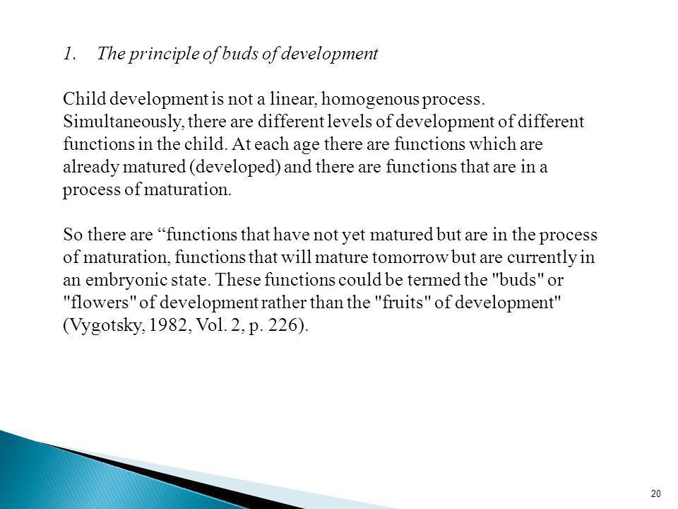 20 1.The principle of buds of development Child development is not a linear, homogenous process.