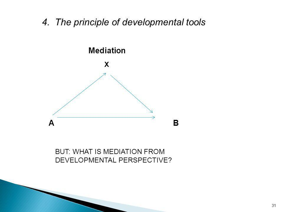31 Mediation A B X 4. The principle of developmental tools BUT: WHAT IS MEDIATION FROM DEVELOPMENTAL PERSPECTIVE?