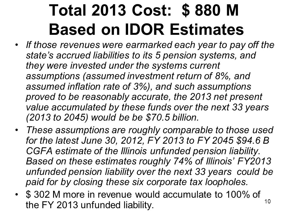 10 Total 2013 Cost: $ 880 M Based on IDOR Estimates If those revenues were earmarked each year to pay off the states accrued liabilities to its 5 pension systems, and they were invested under the systems current assumptions (assumed investment return of 8%, and assumed inflation rate of 3%), and such assumptions proved to be reasonably accurate, the 2013 net present value accumulated by these funds over the next 33 years (2013 to 2045) would be be $70.5 billion.