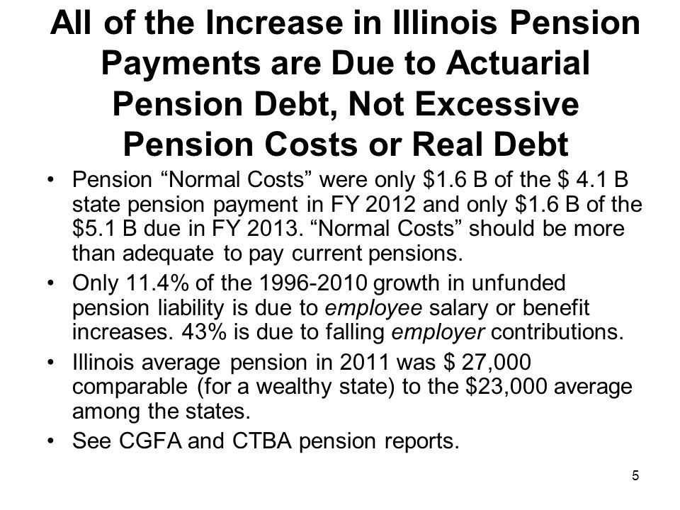 5 All of the Increase in Illinois Pension Payments are Due to Actuarial Pension Debt, Not Excessive Pension Costs or Real Debt Pension Normal Costs we