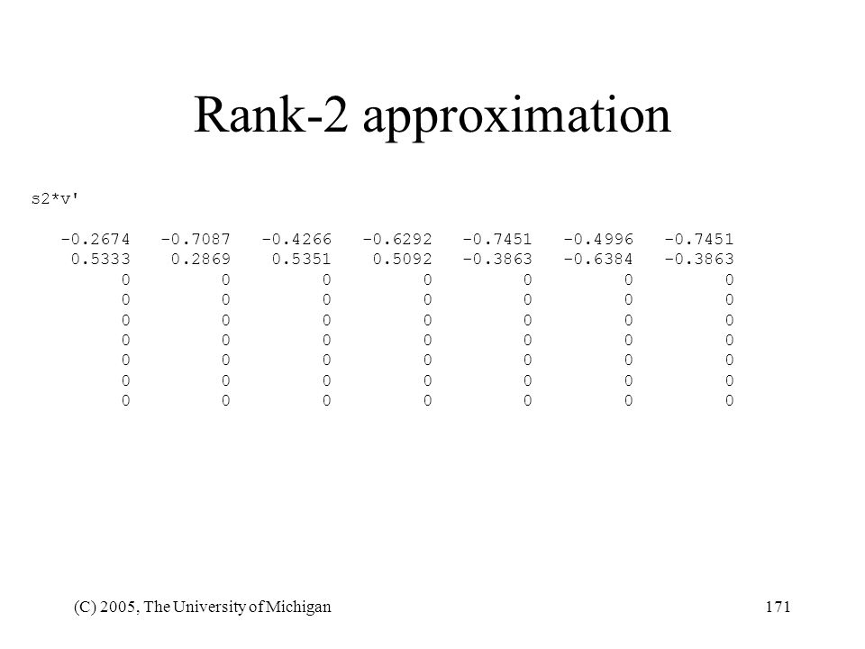 (C) 2005, The University of Michigan171 Rank-2 approximation s2*v' -0.2674 -0.7087 -0.4266 -0.6292 -0.7451 -0.4996 -0.7451 0.5333 0.2869 0.5351 0.5092