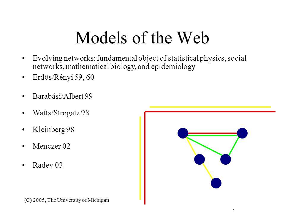 (C) 2005, The University of Michigan185 Models of the Web A B a b Erdös/Rényi 59, 60 Barabási/Albert 99 Watts/Strogatz 98 Kleinberg 98 Menczer 02 Rade