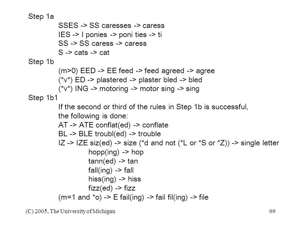 (C) 2005, The University of Michigan99 Step 1a SSES -> SS caresses -> caress IES -> I ponies -> poni ties -> ti SS -> SS caress -> caress S -> cats ->