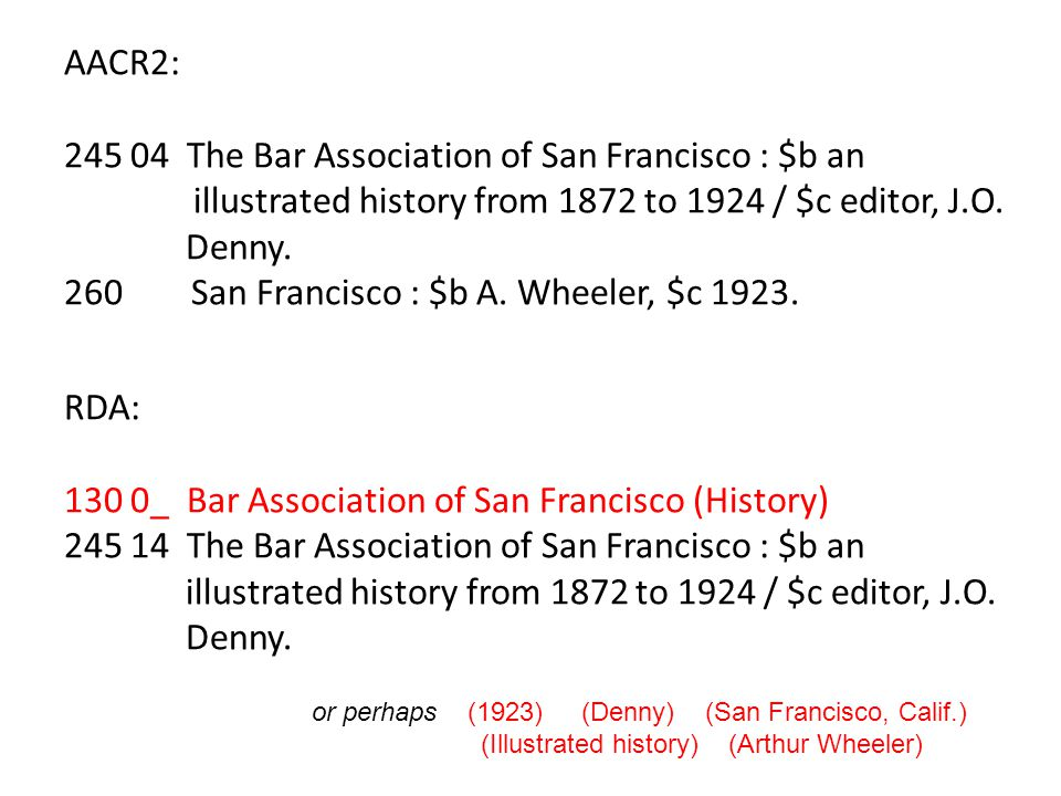 Compilations Lacking Collective Title AACR2 21.7C1 100 1_ $a Baden, Conrad.