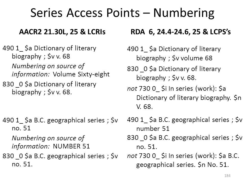 Series Access Points – Numbering AACR2 B.5B, 25.6A2 490 1_ $a Canadian essays and studies ; $v 6 Numbering on source of information: VI 830 _0 $a Canadian essays and studies ; $v 6.
