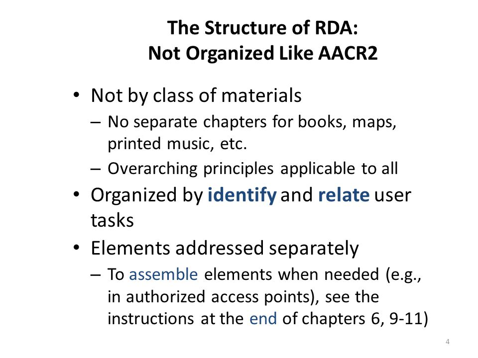 5 The Structure of RDA: Core-ness Based on attributes mandatory for a national level record (FRBR/FRAD) Defined at the element level – Always – Core if – if situation described applies Core elements listed: – as a group in RDA 0.6 – separately in appropriate chapters LC and PCC have identified additional elements as LC Core or LC/PCC Core CORE ELEMENT