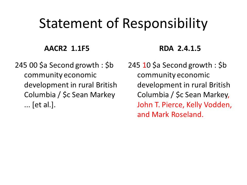 Statement of Responsibility RDA 2.4.1.5 245 10 $a Second growth : $b community economic development in rural British Columbia / $c Sean Markey, John T.