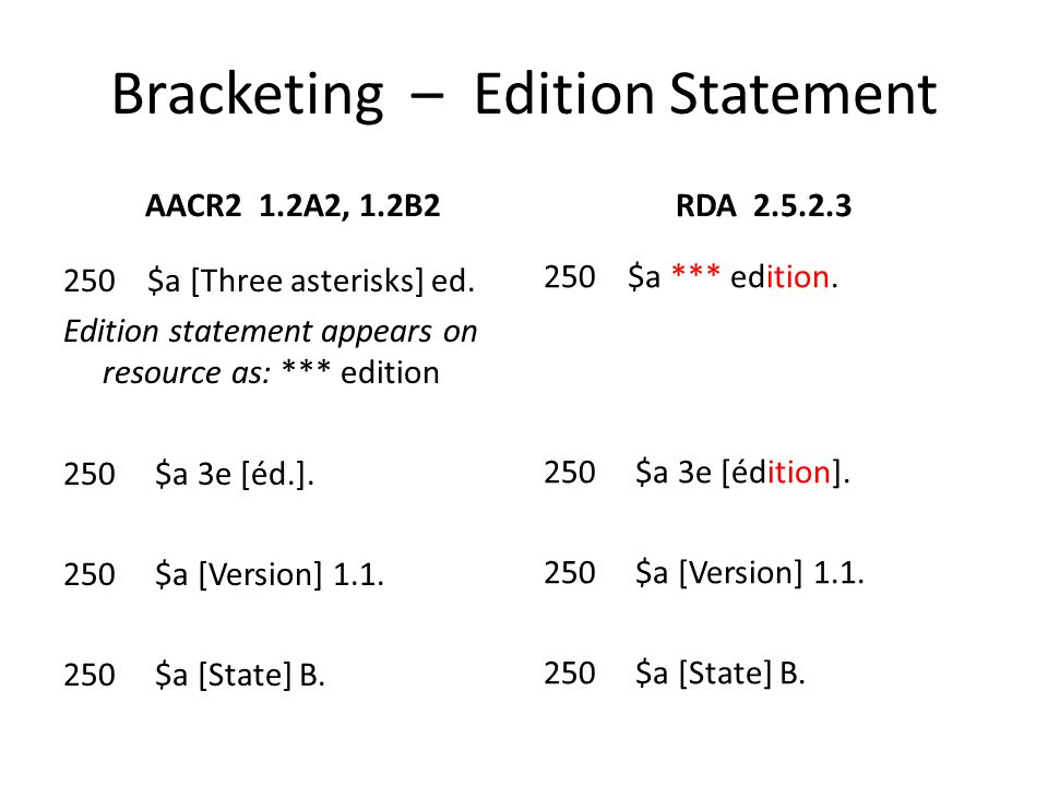 Bracketing – Edition Statement AACR2 1.2B4, LCRI 1.2B4 Optional addition.