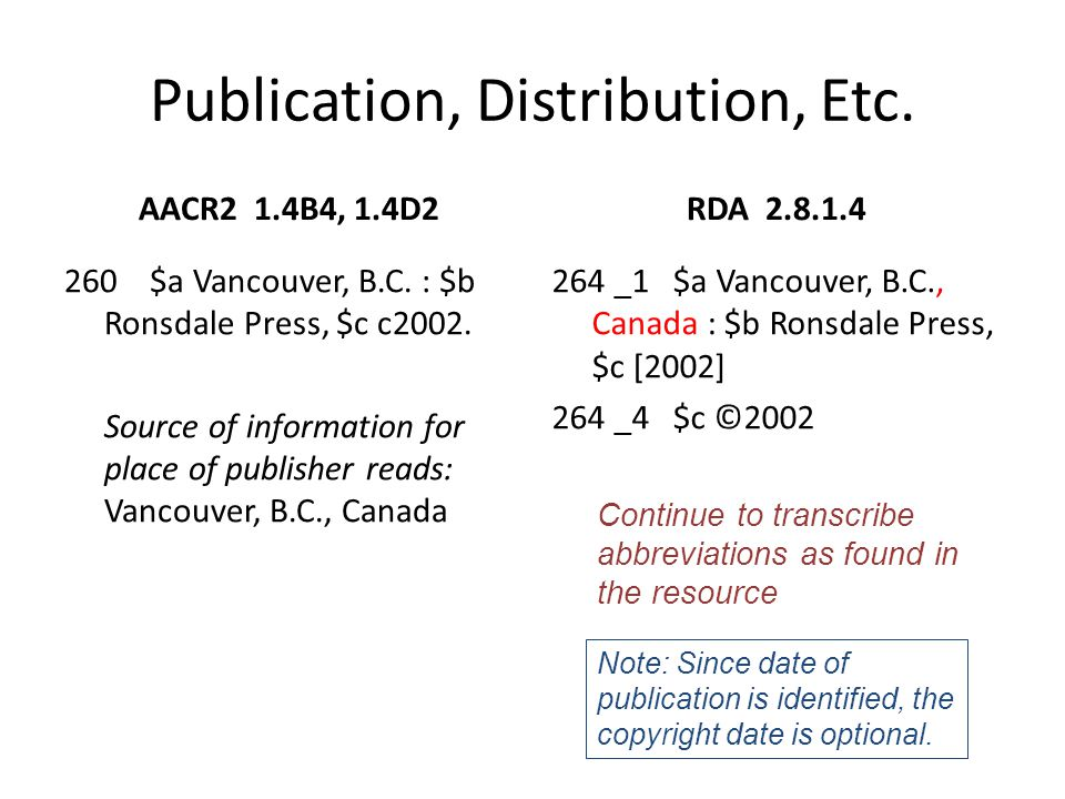 Place of Publication, Distribution, Etc.AACR2 1.4B6, 1.4C4 260 $a Stockholm [i.e.