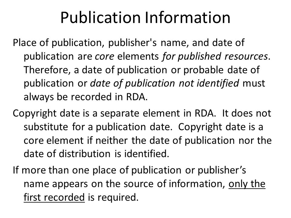 Unknown place and/or publisher AACR2 1.4C6, 1.4D6 260 $a [S.l.] : $b Poote Press, $c 1987.