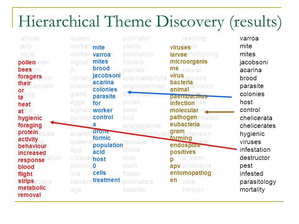 Hierarchical Theme Discovery (results) african jelly royal european venom population africanized sting kda feral m reward subspecies proteins patients discrimination naja cue characters areas queen workers worker signal jh vibration pheromone gland eggs signals hormone juvenile anarchistic queens egg iridaceae policing ixia behavioral age pollinator plants pollination flowers plantae spermatophyta angiospermae dicotyledones pollen seed fruit angiosperms spermatophytes vascular dicots crop plant flower pollinators species learning brain conditioning olfactory neural neurons mushroom memory sucrose nervous coordination dopamine extension antennal odor system proboscis bodies lobe kenyon varroa mite mites jacobsoni acarina brood parasite colonies host control chelicerata chelicerates hygienic viruses infestation destructor pest infested parasitology mortality mite varroa mites brood jacobsoni acarina colonies parasite for worker control a drone formic population acid host 0 cells treatment pollen bees foragers their or ta heat at hygienic foraging protein activity behaviour increased response blood flight strips metabolic removal viruses larvae microorganis ms virus bacteria animal paenibacillus infection molecular pathogen eubacteria gram forming endospore positives p apv entomopathog en