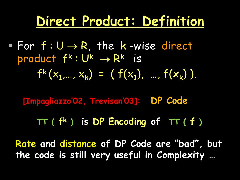 Direct Product: Definition For f : U R, the k -wise direct product f k : U k R k is f k (x 1,…, x k ) = ( f(x 1 ), …, f(x k ) ).