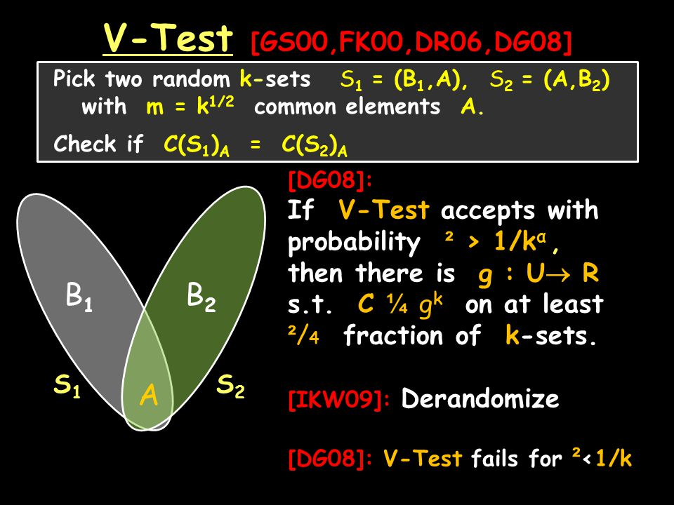 V-Test [GS00,FK00,DR06,DG08] Pick two random k-sets S 1 = (B 1,A), S 2 = (A,B 2 ) with m = k 1/2 common elements A.