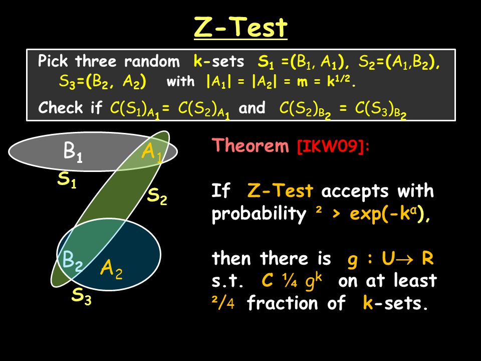 Z-Test Pick three random k-sets S 1 =(B 1, A 1 ), S 2 =(A 1,B 2 ), S 3 =(B 2, A 2 ) with |A 1 | = |A 2 | = m = k 1/2.
