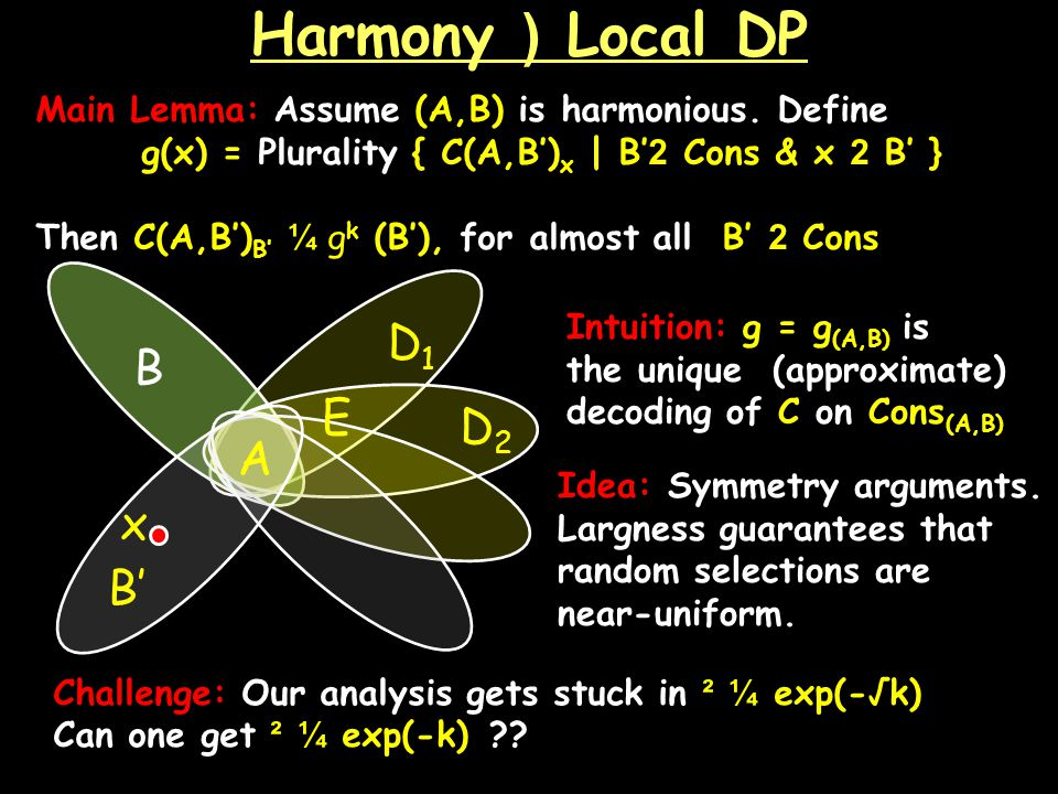 Harmony ) Local DP Main Lemma: Assume (A,B) is harmonious.