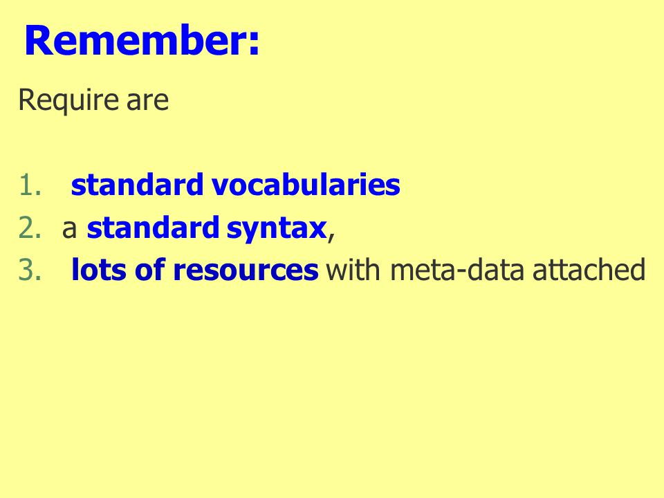 Remember: Require are 1. standard vocabularies 2.a standard syntax, 3.