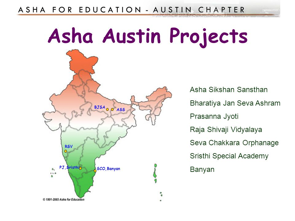 An example Asha project: Seva Chakkara Orphanage A home for 100 children in all grades from pre-schooling to college.