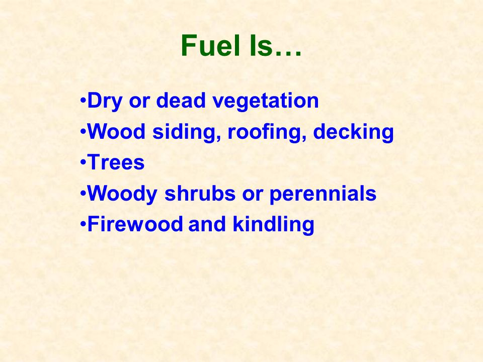 Know the Basics of Fire Fuel + Oxygen + Heat = Fire Which of these 3 can you control?