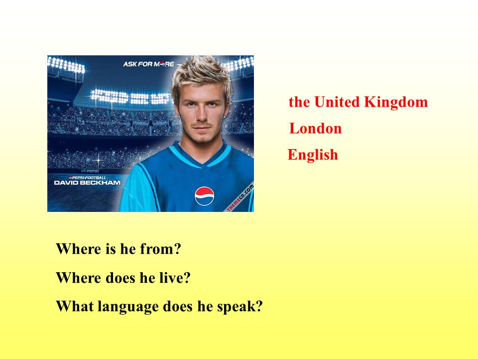 Where is he from? Where does he live? What language does he speak? the United Kingdom London English