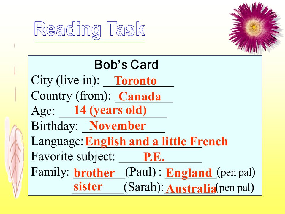 Bobs Card City (live in): ___________ Country (from): _________ Age: _________________ Birthday: _____________ Language: __________________ Favorite s
