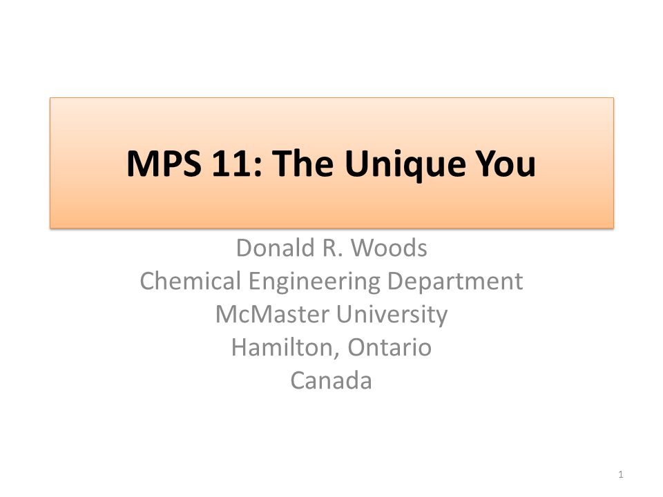 MPS 11: The Unique You Donald R.
