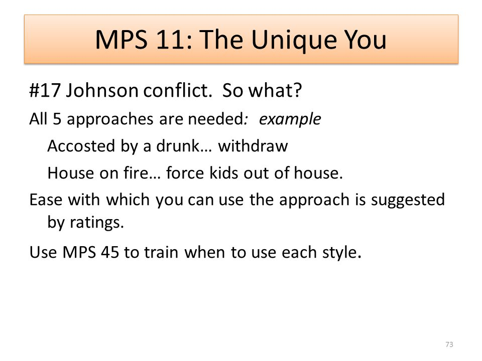 MPS 11: The Unique You #17 Johnson conflict. So what.