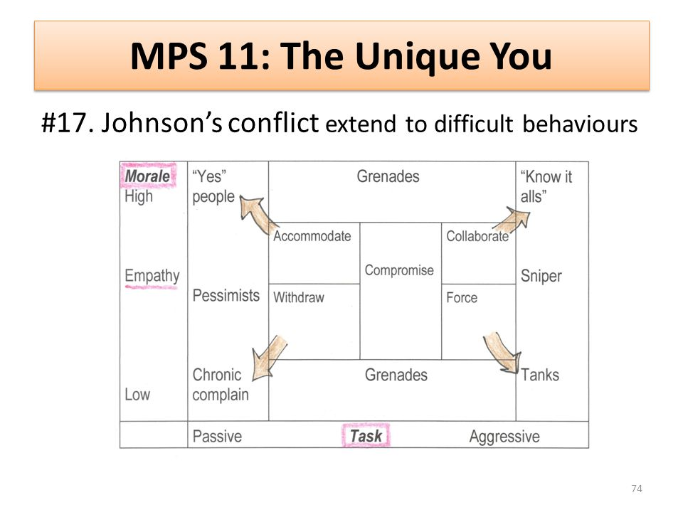 MPS 11: The Unique You #17. Johnsons conflict extend to difficult behaviours 74