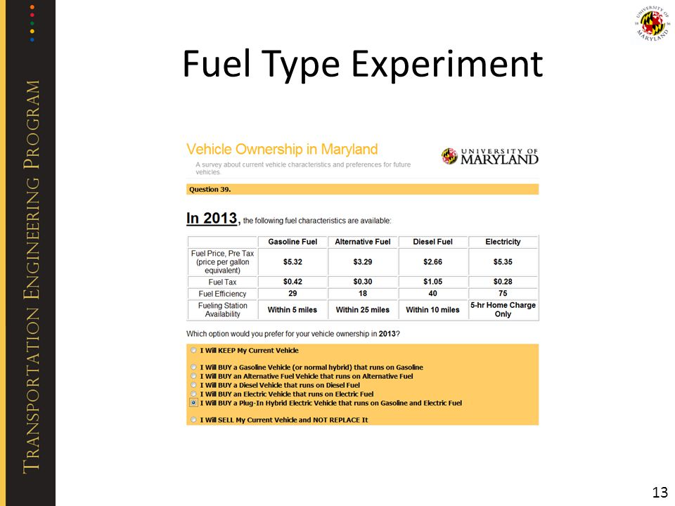 Fuel Type Experiment 13