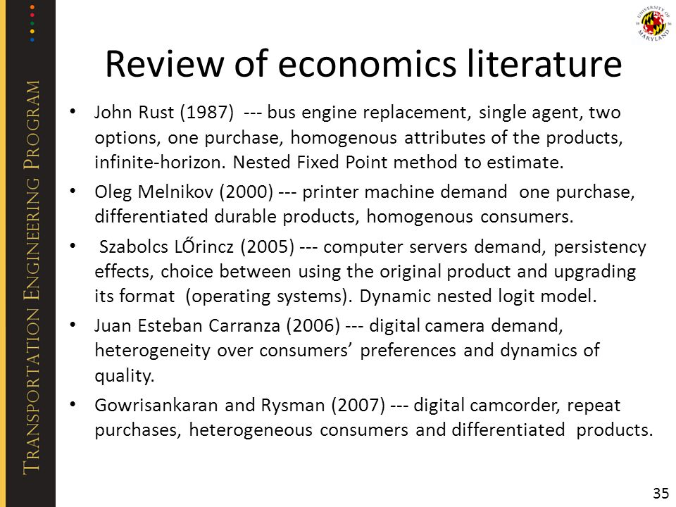 Review of economics literature John Rust (1987) --- bus engine replacement, single agent, two options, one purchase, homogenous attributes of the prod
