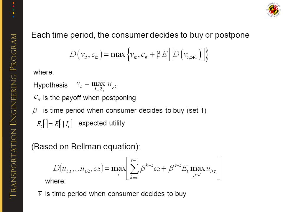 Each time period, the consumer decides to buy or postpone where: Hypothesis is the payoff when postponing is time period when consumer decides to buy