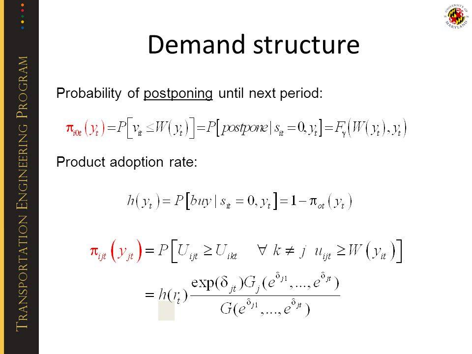 Probability of postponing until next period: Product adoption rate: Demand structure