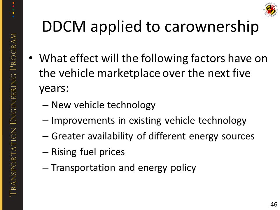 DDCM applied to carownership What effect will the following factors have on the vehicle marketplace over the next five years: – New vehicle technology