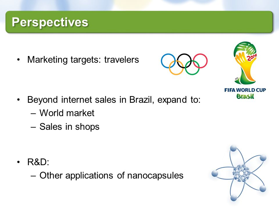 Marketing targets: travelers Beyond internet sales in Brazil, expand to: –World market –Sales in shops R&D: –Other applications of nanocapsules Perspe