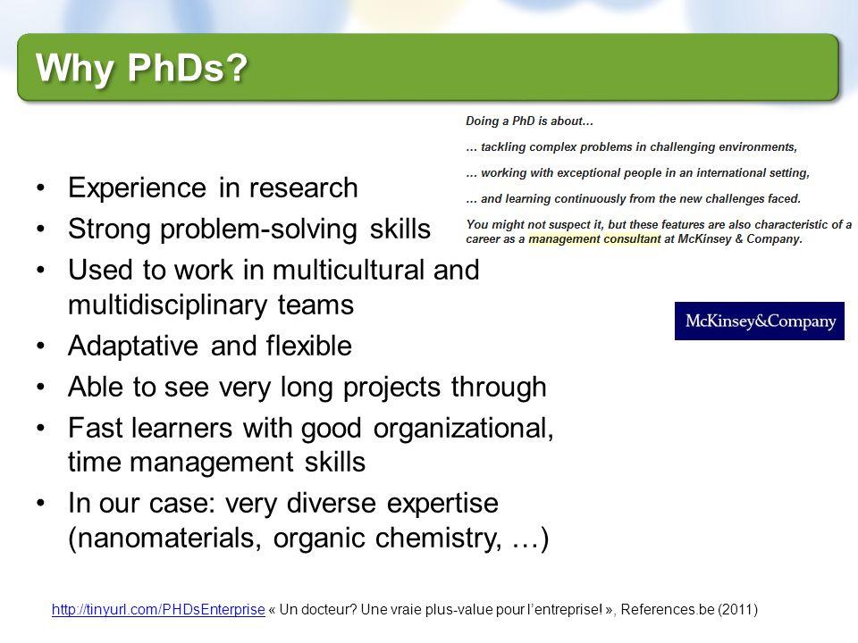 Why PhDs? http://tinyurl.com/PHDsEnterprisehttp://tinyurl.com/PHDsEnterprise « Un docteur? Une vraie plus-value pour lentreprise! », References.be (20