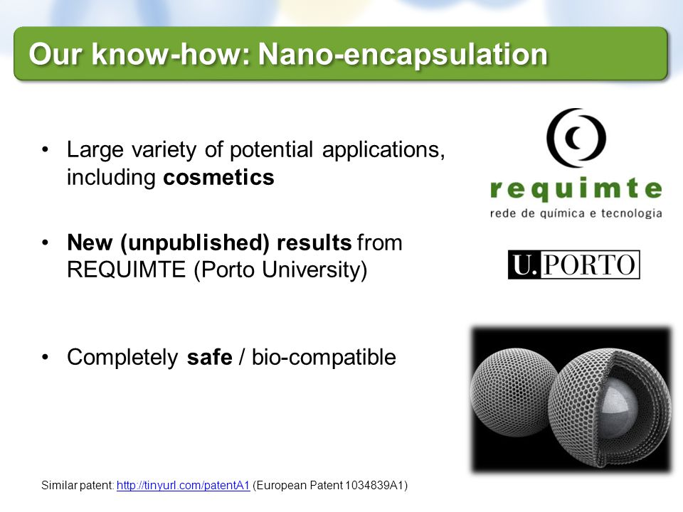 Our know-how: Nano-encapsulation Large variety of potential applications, including cosmetics New (unpublished) results from REQUIMTE (Porto Universit