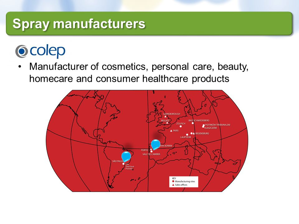 Manufacturer of cosmetics, personal care, beauty, homecare and consumer healthcare products Spray manufacturers