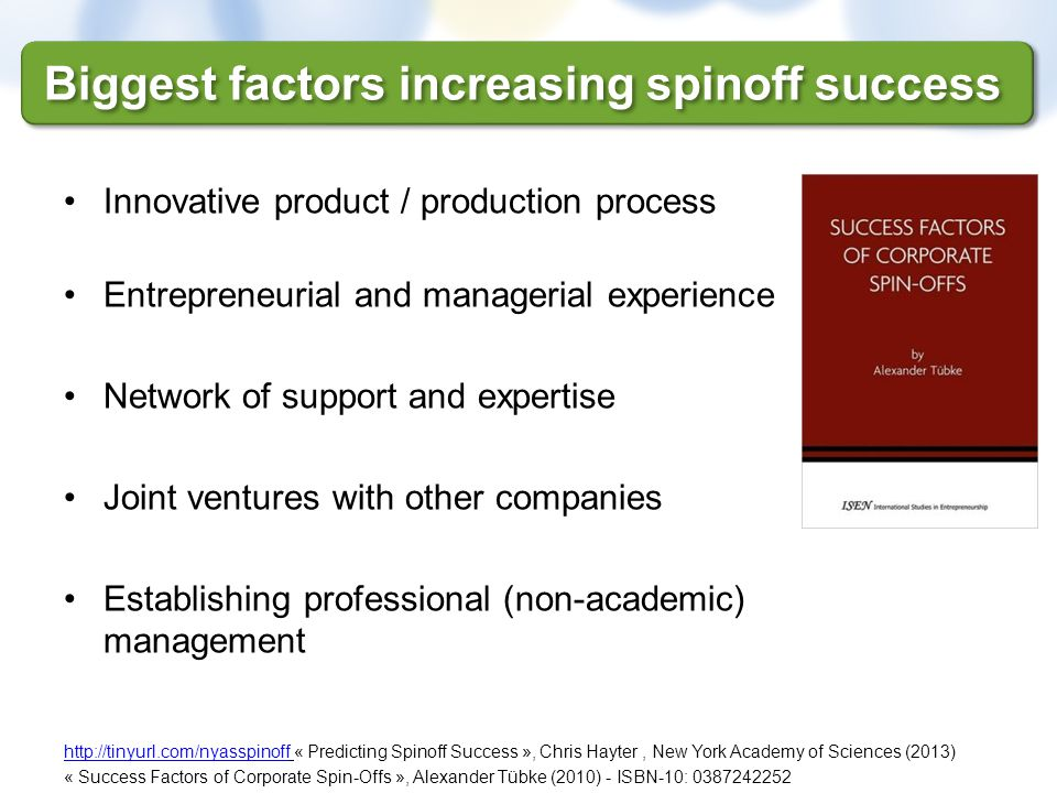 Innovative product / production process Entrepreneurial and managerial experience Network of support and expertise Joint ventures with other companies