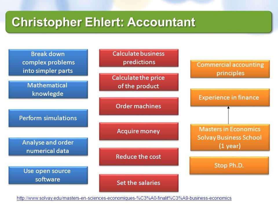 Christopher Ehlert: Accountant http://www.solvay.edu/masters-en-sciences-economiques-%C3%A0-finalit%C3%A9-business-economics Set the salaries Reduce t